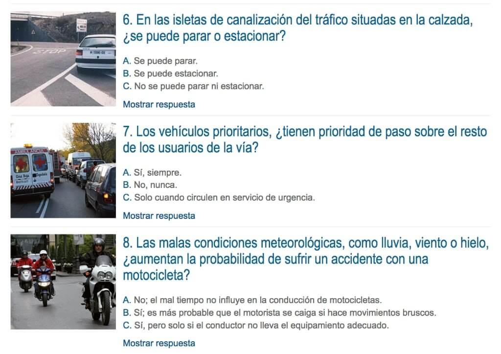 Fragmento de la web de la DGT que muestra algunas preguntas de un test sobre conducción