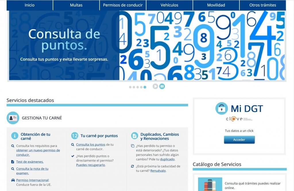 Captura de pantalla de la nueva web de la DGT.